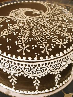Peacock Frosted Chocolate Cake - Mehndi - India