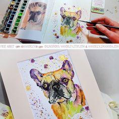Draussen ist heut alles so grau da mach ich euch mal mit dem neuesten bunten Hund bekannt.  Das Model ist French Bullie-Gentleman Bones von @koepifisch. Demnächst zeig ich euch hier auf instagram auch noch was anderes ganz Tolles mit ihm! (dies Bild ist nicht mehr zu haben aber natürlich können Arbeiten nach Wunsch auch bei mir bestellt werden in den Shops wandklex.etsy.com und wandklex.dawanda.com.) Verwendetes Material: @caran_dache supracolor soft auf @hahnemuehle Echtbütten Malerei und…