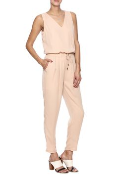 Peach colored lightweight jumpsuit with elastic waist tie, criss cross back, and pockets.   Cross Back Jumpsuit by JAYE.E.. Clothing - Jumpsuits & Rompers - Jumpsuits New Jersey