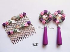 MARYNA TORRES: COMPLEMENTOS FLAMENCA Diy Necklace, Bead Earrings, Crochet Earrings, Flower Earrings, Polymer Clay Flowers, Polymer Clay Jewelry, Hair Decorations, Polymer Clay Miniatures, Diy Hair Accessories