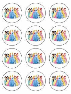 12 Disney Princess Edible Icing Cupcake Cup Cake Decoration Cake Image Toppers | eBay