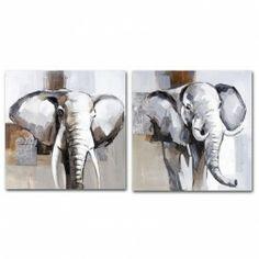 Cuadros África Elefante, díptico lienzo pintura al óleo. Cuadros y Pinturas en Nuryba.com tu tienda decoracion de interiores online