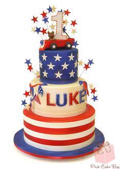 Vintage Americana 1st Birthday Cake by Pink Cake Box in Denville, NJ. Happy Memorial Weekend!