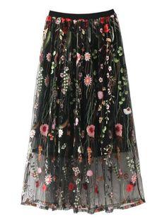 b50af9ffd Flower Embroidery Mesh Skirt Maxi Skirt Boho, Boho Skirts, Bohemian Skirt,  Long Maxi