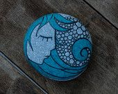 "Painted sea stone ""Blue Hair Girl"""