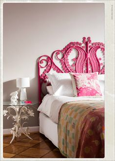 pink headboard - bedroom