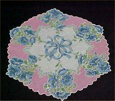 Vintage Antique Hankie Handkerchief ROUND Floral Ribbons 1950s Era Estate Find