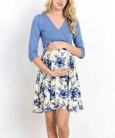 Hello Miz Maternity Hello Miz Denim Blue Floral Maternity/Nursing Surplice Dress | zulily