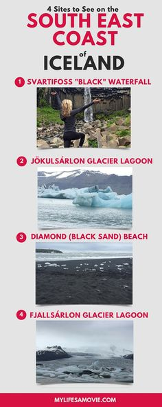 """5 Sites to See on a DIY Road Trip of the South East Coast of Iceland! Includes Svartifoss waterfall, Jokulsalaron glacier lagoon, and a secret black sand beach with """"diamond"""" rocks! Definitely one of the best areas in Iceland!"""