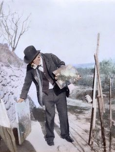 Paul Cézanne, photographed by Kerr-Xavier Roussel in January 1906. Colorized by painters-in-color