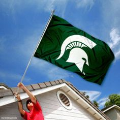 Michigan State Spartans MSU Sparty University Large College Flag by College Flags and Banners Co.. $29.95. Officially Licensed and Approved by Michigan State University. College Logos viewable on Both Sides (Opposite side is a reverse image). Perfect for your Home Flagpole, Tailgating, or Wall Decoration. 3'x5' in Size with two Metal Grommets for attaching to your Flagpole. Made of Polyester with Quadruple-Stitched Flyends for Durability. Our MSU Spartans Flag measures 3...