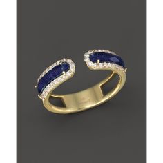 Meira T 14K Yellow Gold Lapis Band Ring with Diamonds ($1,270) ❤ liked on Polyvore featuring jewelry, rings, pave diamond ring, gold cocktail rings, 14 karat gold ring, gold band ring and gold diamond rings