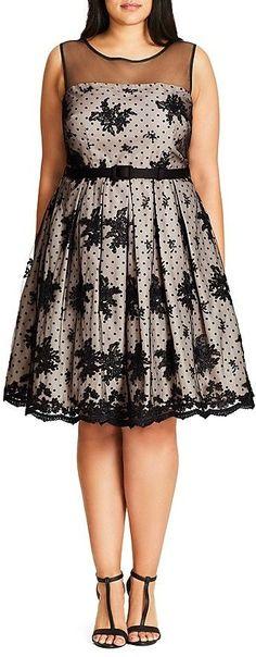 Plus Size Floral Dot Mesh Dress