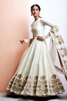 Photo of Off White Lehenga with Copper Floral Embroidery Indian Women Suits – White Silk Anarkali with Copper Zardozi Embroidery on Border and Dupatta Indian Lehenga, Indian Gowns, Indian Attire, Indian Ethnic Wear, Pakistani Dresses, Indian Designer Outfits, Designer Dresses, Style Blanc, Moda Indiana