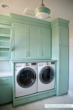 Sunny Side Up - laundry/mud rooms - Benjamin Moore - Wythe Blue - washer and dryer, white washer and dryer, washer and dryer pedestal, washe...
