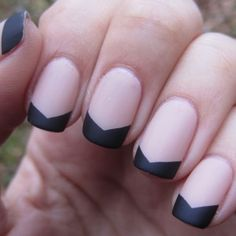 Matte Black and Nude Chevroned French - gorgeous and surprisingly elegant! #creative #manicure