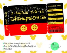 Printable Ticket to Disneyland Disney World with Custom Name Dates Personalize Surprise Mickey Mouse DIY Digital File Kids Child Disney pdf by SnappyBrickPhotos