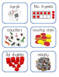 Free math manipulative labels!