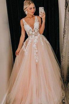 Light Pink Tulle V Neck Applique Lace Wedding Dress/Prom Dress - Prom Dresses African Prom Dresses, Senior Prom Dresses, Royal Blue Prom Dresses, Pretty Prom Dresses, V Neck Prom Dresses, Prom Outfits, Ball Dresses, Dress Prom, Dress Formal