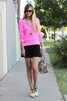 Pink sweater with Black skirt  |Liz Cherkasova style| Late Afternoon Blog