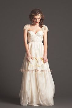 wedding gowns with cap sleeve | ... Waist Chiffon Fabric Sweetheart Neckline Cap Sleeves Wedding Dress