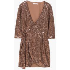 MANGO Sequined Dress ($100) ❤ liked on Polyvore featuring dresses, three quarter sleeve dress, wrap dress, brown sequin dress, 3/4 length sleeve dresses and lining dress