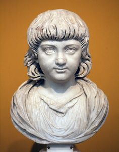 Portrait of a child. Carrara marble. Ca. 200 CE. The base (barely visible) was added in the 18th or 19th century. Inv. No. 1994.84. Boston, Museum of Fine Arts