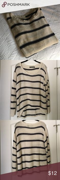 Creme & navy sweater Creme & navy stripped sweater! Originally bought from Nordstrom. Great condition. RDI Tops
