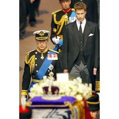 5 April 2002: Prince Charles and his son Prince William follow the Queen Mother's coffin out of Marlborough Road as her funeral procession heads for Westminster Hall Picture: AFP/GETTY