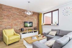 Nowoczesny minimalizm z akcentem starej cegły w 74 - PLN Design Interior Design Living Room, Living Room Designs, Living Room Decor, Home Planner, Brickwork, Exposed Brick, Brick Wall, Couch, Architecture