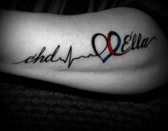 My Tribute Tattoo to my Heart Warrior Ella, for my 40th B-day.. Love it, on the side of my arm! Mom Baby Tattoo, Tattoos For Baby Boy, Mom Tattoos, Future Tattoos, Body Art Tattoos, Heart Disease Tattoo, Kendall Tattoo, Awareness Tattoo, Chd Awareness