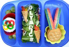Go For the Gold-- Olympic style bento made complete with adorable bugle chip Olympic torches