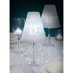 Swirl Print Opaque Vellum Wrap Lamp Shades - White - 12 pack Guess this is just vellum paper you put over wine glasses?  great idea and add embellishments for extra bling