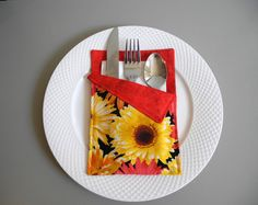 Cutlery Holders to Brighten Your Table for any by VanDijkDesigns Cutlery Holder, Napkin Folding, Flatware, Christmas Ideas, Napkins, Wraps, Table Decorations, Cutlery Set, Coats