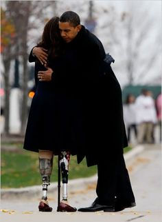 Iraq war vet and Blackhawk helicopter pilot Tammy Duckworth (now Senator) and President Obama