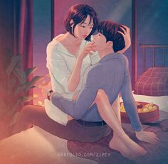 Illustrator Captures The Passionate Moments Of Love And Closeness That You Can Feel Couple Amour Art, Couple Amour Anime, Art Love Couple, Love Cartoon Couple, Cute Love Cartoons, Anime Love Couple, Cute Anime Couples, Love Art, Beautiful Couple