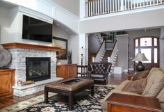 We love this beautiful LDK living room! The white stone fireplace is amazing!