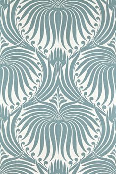 """*** *** *** I love The Lotus wallpaper by Farrow & Ball . The pattern was """" drawn from century French archives and influenced. Floral Print Wallpaper, Lotus Wallpaper, Painting Wallpaper, Fabric Wallpaper, Pattern Wallpaper, White Wallpaper, Bathroom Wallpaper Patterns, Art Nouveau Wallpaper, Stone Wallpaper"""