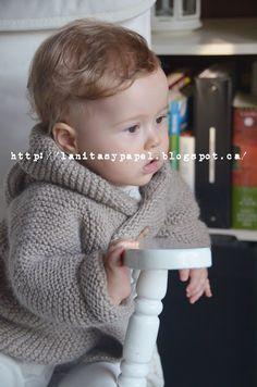 lanitasypapel: Haz una chaqueta de bebe con capucha facil con tutorial Crochet For Boys, Knitting For Kids, Crochet Baby, Knit Crochet, Baby Knitting Patterns, Tricot Baby, Baby Coat, Knit Jacket, Cool Baby Stuff