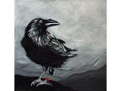 Acrylmalerei - Rabe, Acrylbild Unikat - Angelika Rump