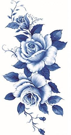 Beautiful dark blue and white roses temporary tattoos >>> Details can be found by clicking on the image. Note:It is Affiliate Link to Amazon.