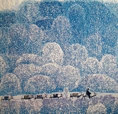 "1998 ~ ""The Winter Journey"", Woodcut printed with Oil-based Ink, by Zhou Shenghua 周胜华 (1949-2000), Chinese Artist ...."