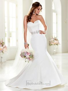 Strapless Sweetheart Mermaid Wedding Dresses with Beading Waist