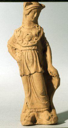 Terracotta statuette of Athena.