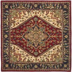 Handmade Heritage Heriz Red/ Navy Wool Rug (6' Square) | Overstock™ Shopping - Great Deals on Safavieh Round/Oval/Square