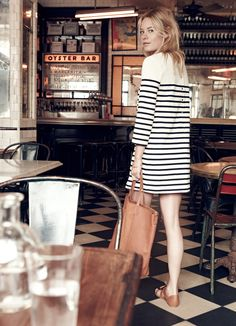 madewell et sézane, july 2015: our french-american muse camille rowe wearing the striped knit dress, ulysses sandal + leather tote. #madewellxsezane