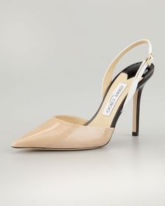 ❤ Volt Patent Pointed Slingback, Nude/White/Black by Jimmy Choo at Neiman Marcus.