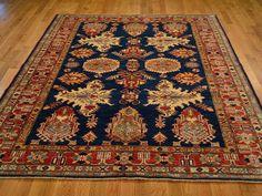 Super Kazak Oriental Rug, 6.5' x 9' Hand Knotted 100% Wool Navy Tribal Rug Sh12247