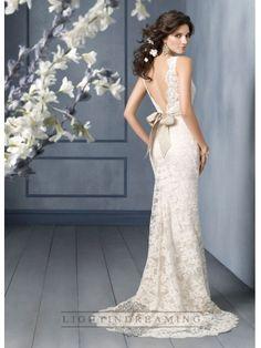 Scallop Bateau Neckline A-line Lace Open Back Wedding Dresses with Sweep Train