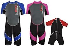 "Childs 3mm Neoprene Shortie Wetsuits - 1 Year Warranty - AGE 4 to 12 Years - Please Select Size and Colour (Blue, 28"")"